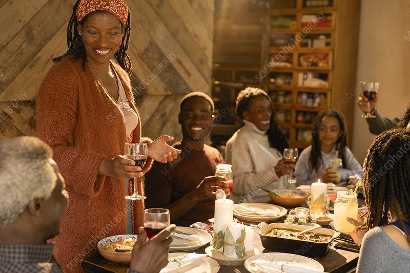 Multi-generation family enjoying Christmas dinner