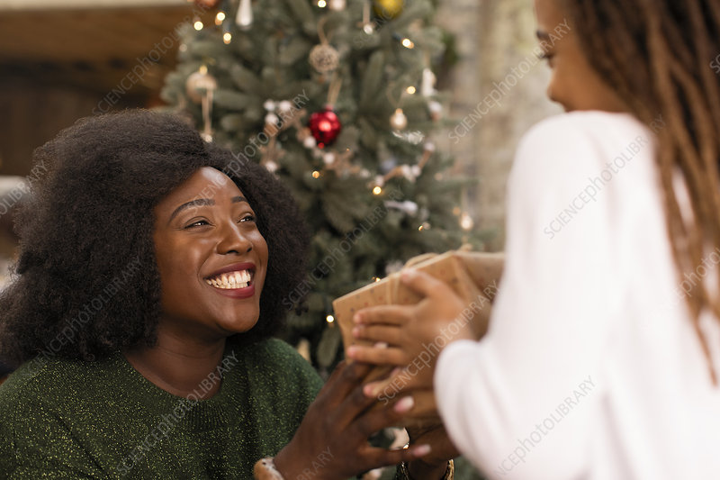 Smiling mother giving Christmas gift to daughter