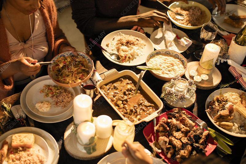 Caribbean food on Christmas dinner table