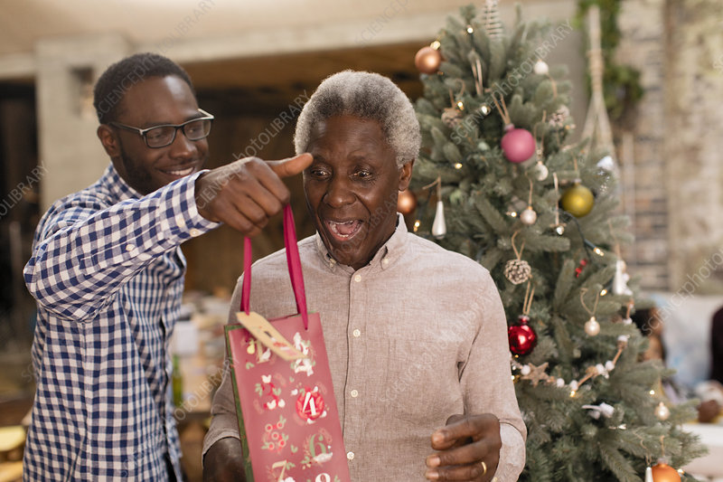 Grandson surprising grandfather with gift