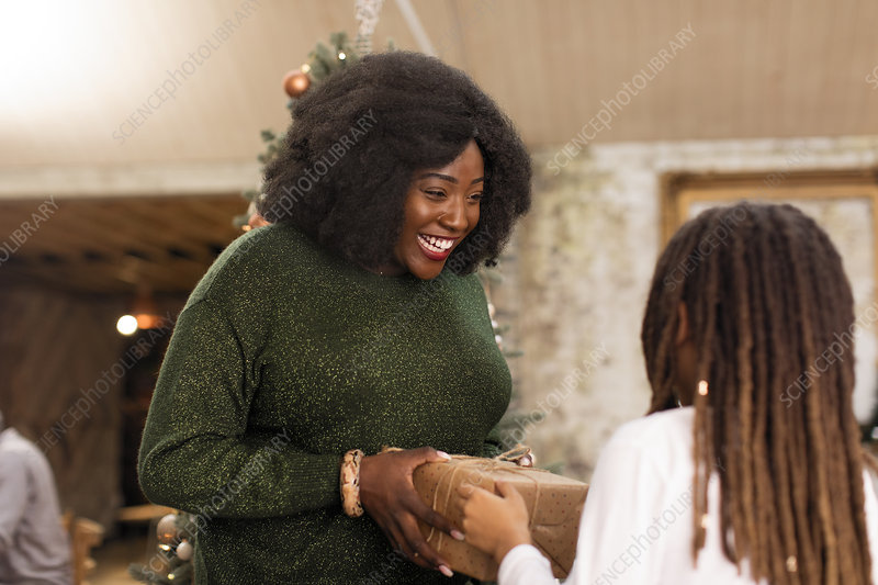 Mother giving Christmas gift to daughter