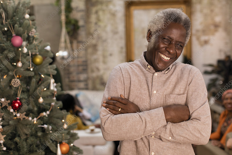 Portrait smiling senior man next to Christmas tree