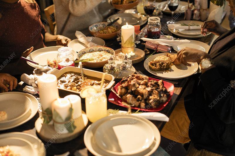 Caribbean food on Christmas dinner table