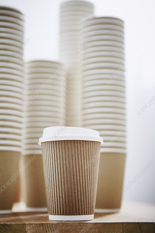 Stacks of recyclable disposable cups