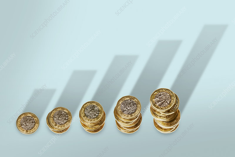 Ascending stacks of pound coins