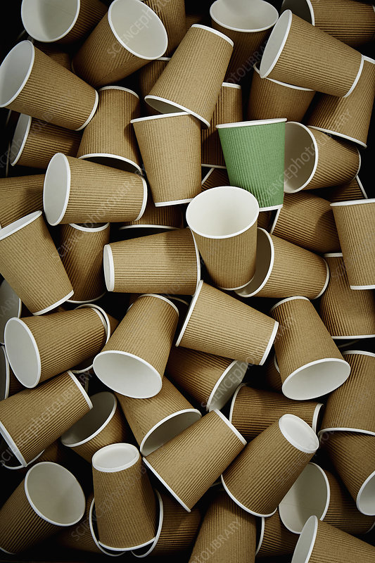 Full frame green recyclable coffee cup