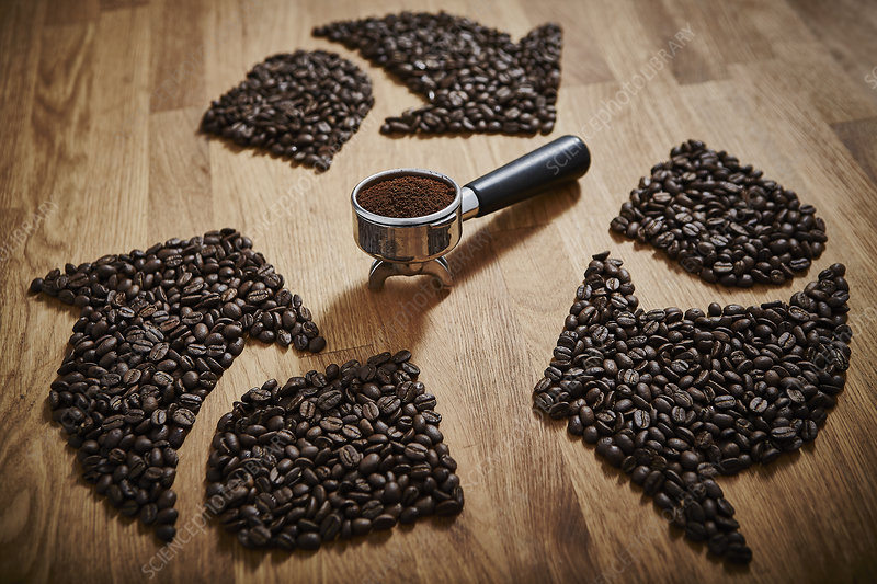 Coffee beans forming recycle symbol