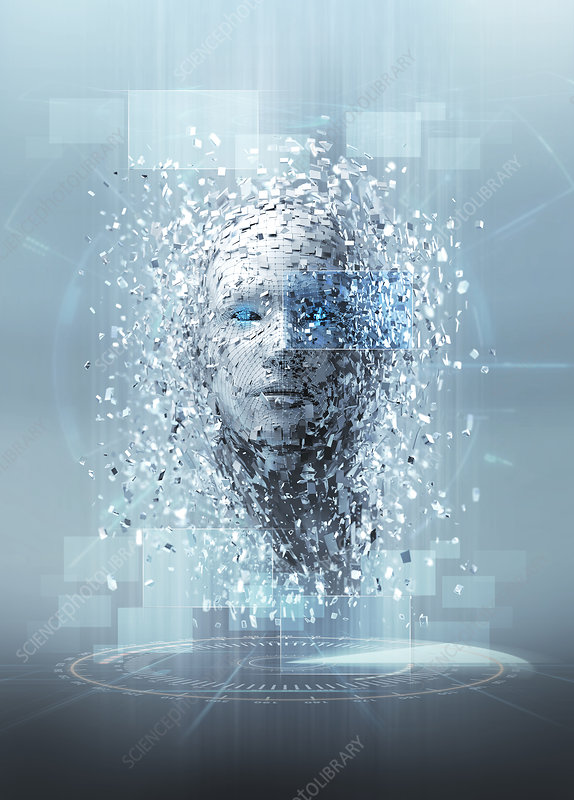 Artificial intelligence pieces forming face