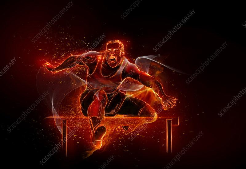 Illustration of athlete jumping hurdles