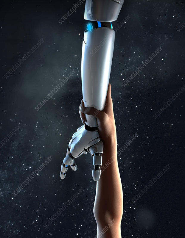 Illustration of arm reaching for robotic arm
