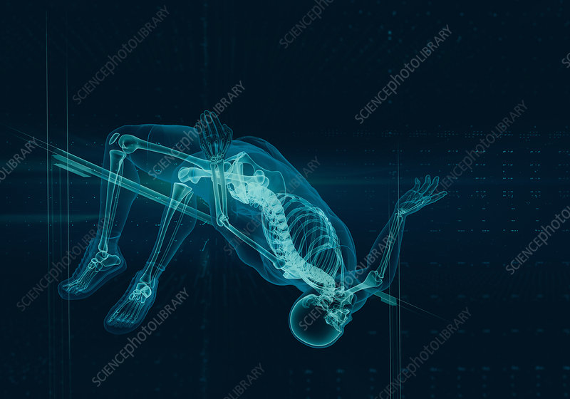 Illustration of x-ray skeleton of athlete jumping