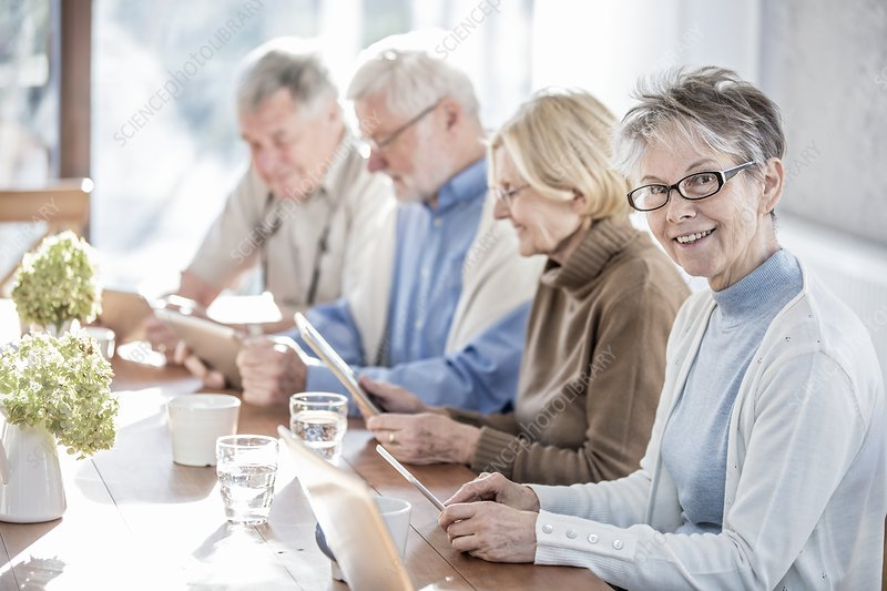 Seniors using tablets