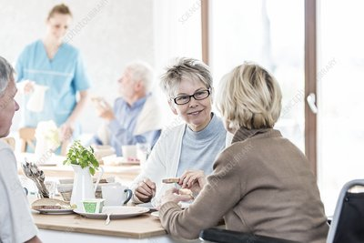 Senior women talking
