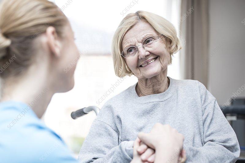 Woman smiling at carer