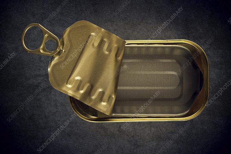 Empty food tin