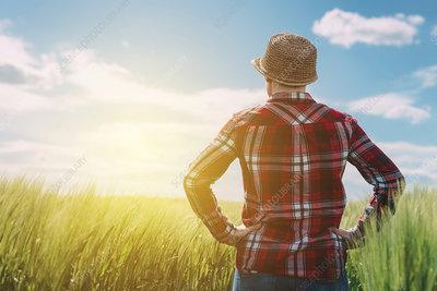 Female farmer looking at the sun on the horizon