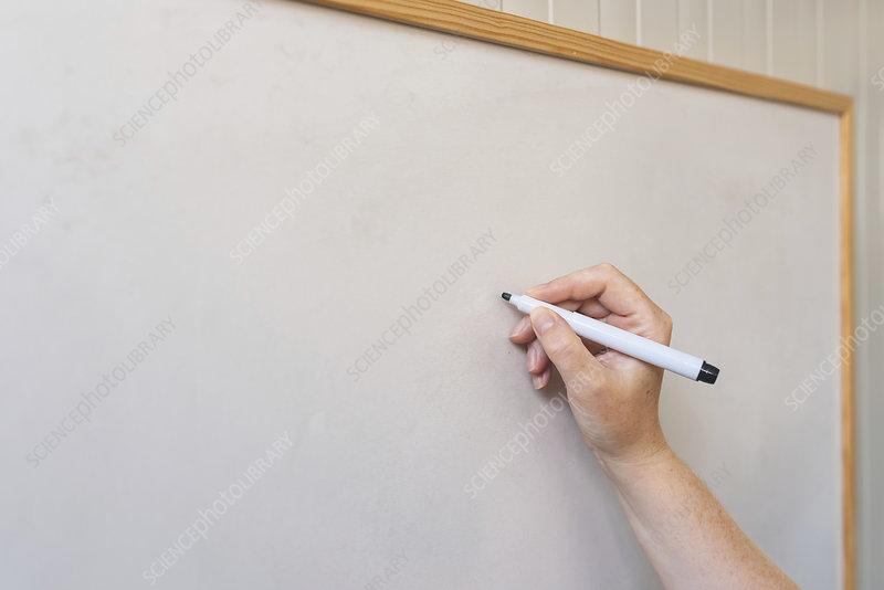 Female hand writing on whiteboard