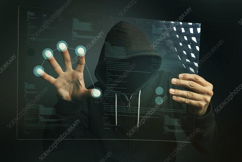 Hacking biometric security, conceptual image