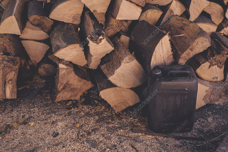 Logs and oil can