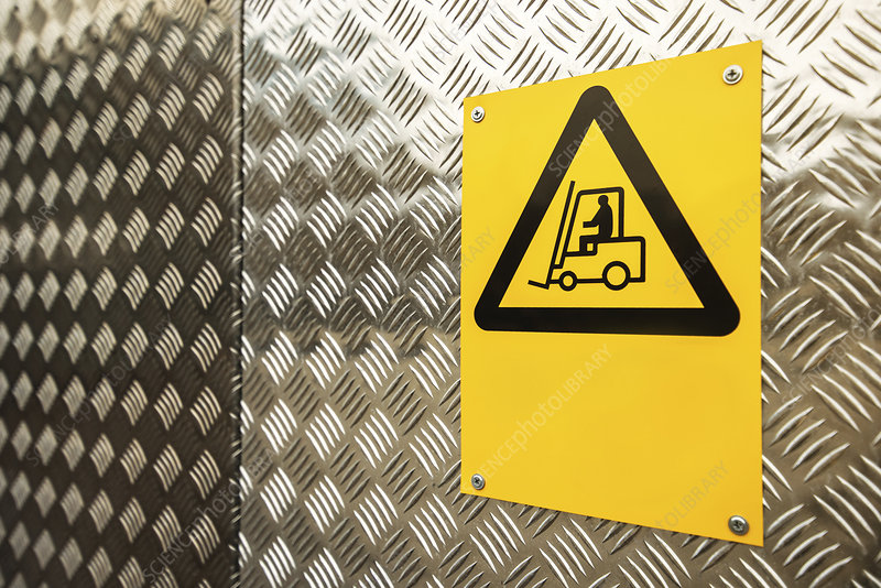 Fork lift truck warning sign