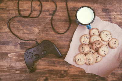 Gamepad controller with cookies and milk
