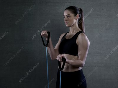 Woman with resistance band