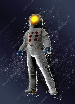 Astronaut in space suit, illustration