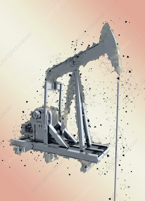 Oil well pumpjack, illustration