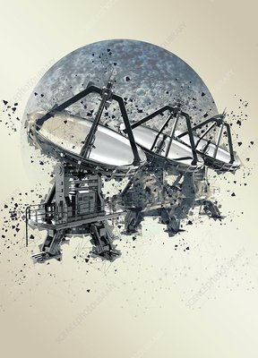 Satellite dishes and moon, illustration