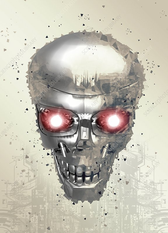 Robotic human skull, illustration