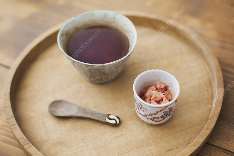 Close up, bowls, miso soup, crushed ginger, spoon, tray