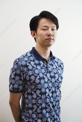 Portrait, man, art gallery, blue patterned shirt