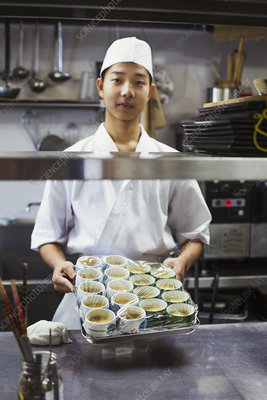 Japanese sushi restaurant chef, kitchen, tray, food bowls