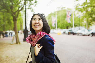 Smiling Japanese woman outdoors in London