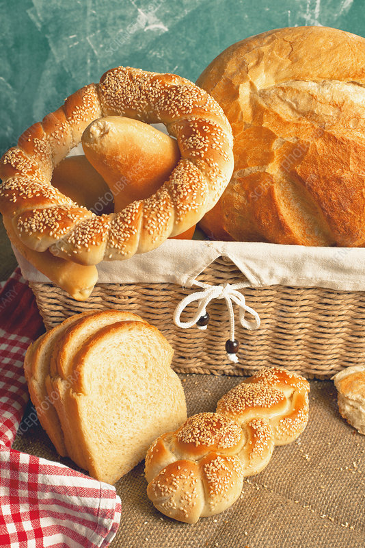 Bread and rolls in wicker basket