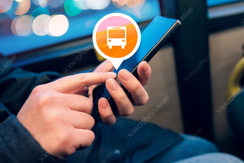 Woman using public transport app