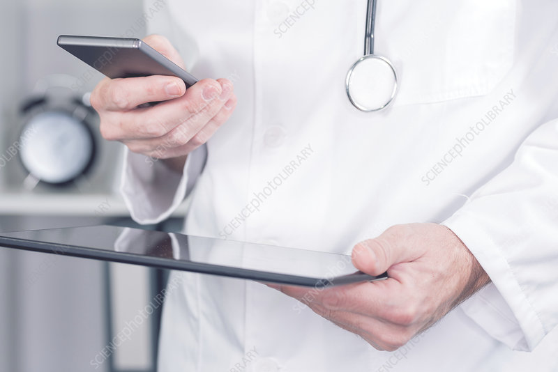 Doctor using smartphone
