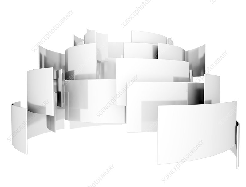 Curved white sheets, illustration