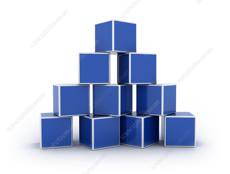 Cubes stacked in pyramid, illustration