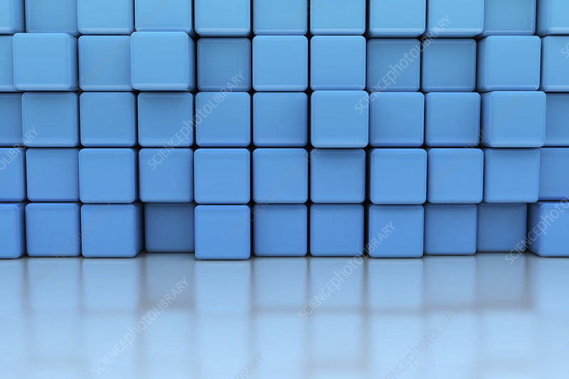 Blue cubes, illustration