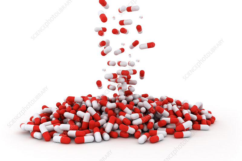 Drug capsules, illustration