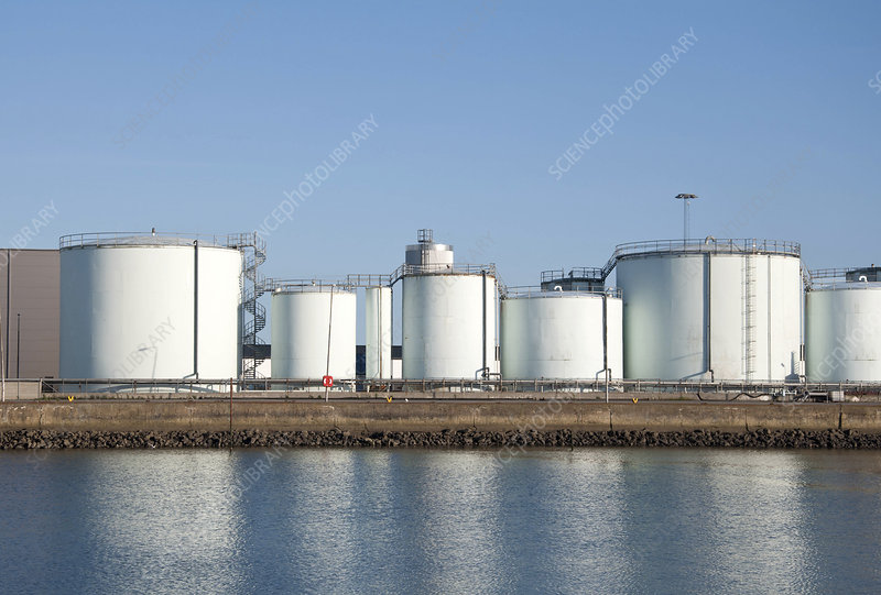 Storage tanks at oil refinery