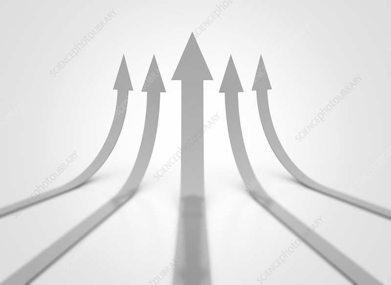 Upward arrows, illustration