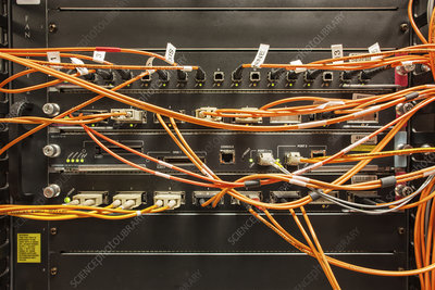 CAT 5 cable bundle system wiring in a server room