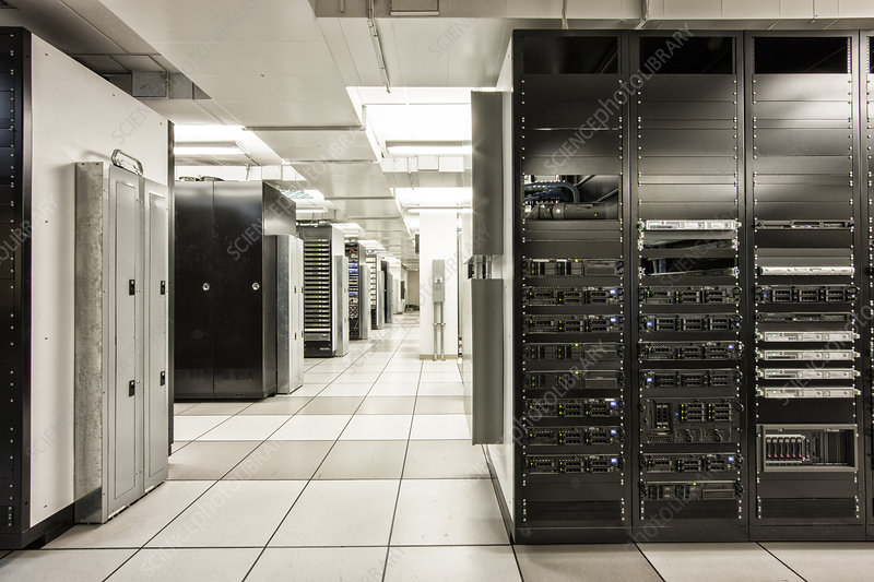 storage racks aligned in a computer server room stock image f021