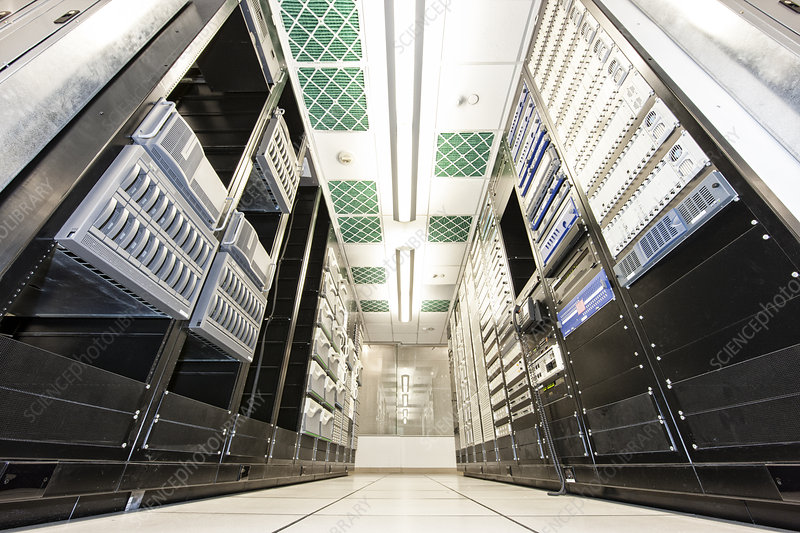 Storage racks aligned in a computer server room