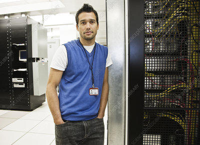 Technician in a large server room