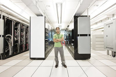 Computer technician in a large server room