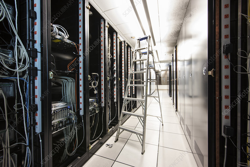close up of wiring systems in computer server room stock image