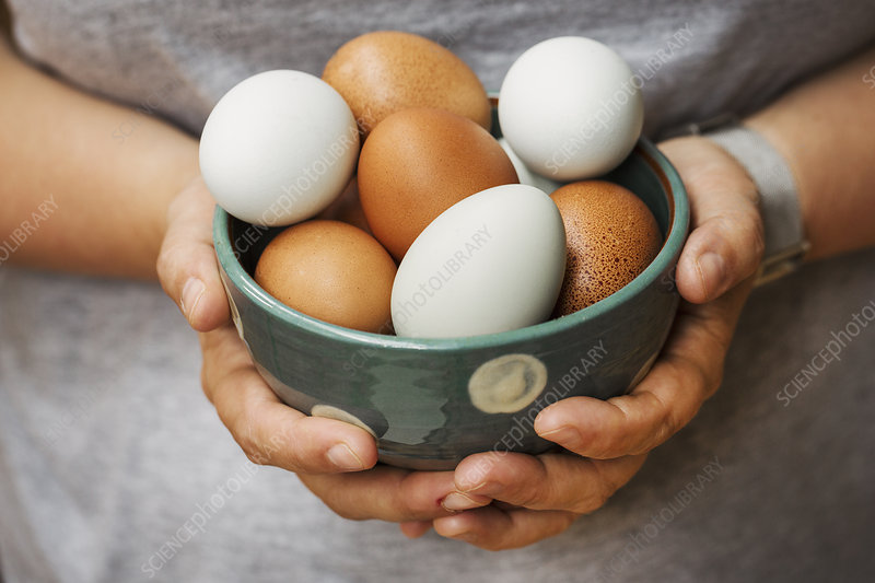 A woman holding bowl with fresh eggs
